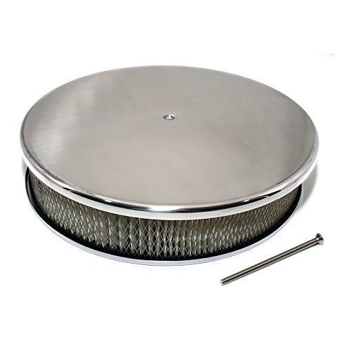 Assault Racing Products A6801 14 x 3 Round Full Smooth Top Polished Aluminum Air Cleaner Assembly