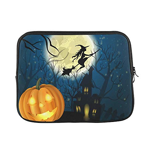 Design Custom Halloween Background of Witch On The Full Moon Sleeve Soft Laptop Case Bag Pouch Skin for MacBook Air 11