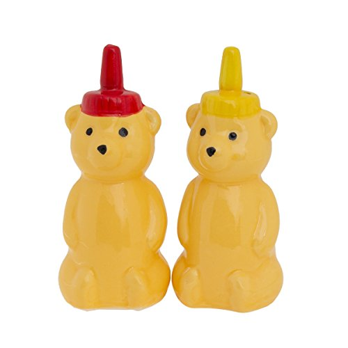 Honey Bear Salt and Pepper Shaker Set Yellow Porcelain Shakers Decorative Refillable Kitchen Condiments Dispenser