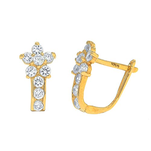 JewelStop 14k Yellow Gold Cz White Flower Huggie Hoop Earrings, 1.43gr.