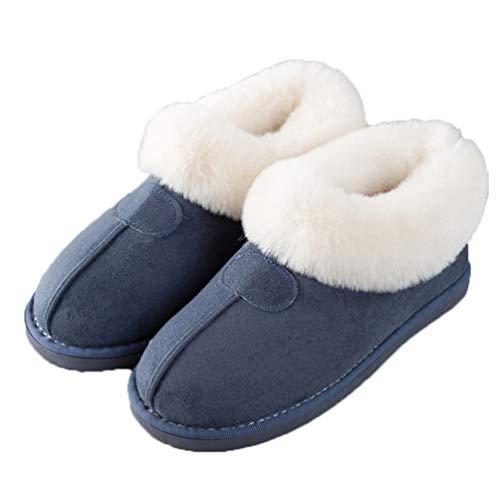 Blu Confortevole Donne Con Inverno Pantofole Paio Scarpe S19 Casa Calzature Caldo Peluche Pelliccia Interna ZOfaZW
