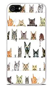 Cute Peeking Cats White Hardshell Case for iPhone 5 / 5S by icecream design