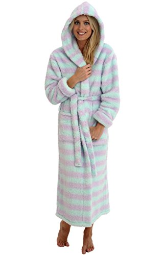 Alexander Del Rossa Womens Fleece Robe, Long Plush Hooded Bathrobe, Small Medium Purple and Green Striped (A0304P11MD) ()