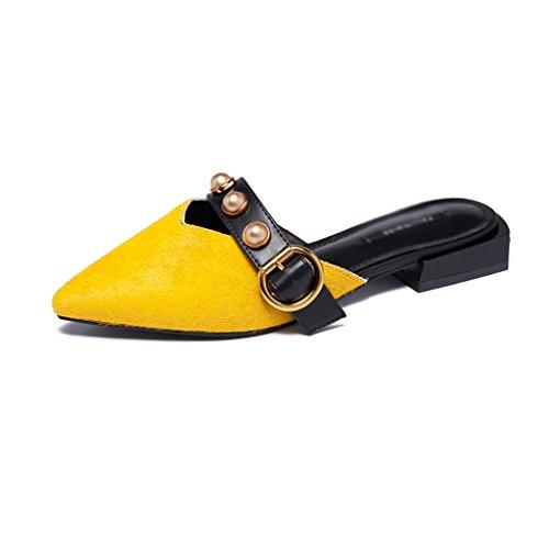 Büro Sandalen Farbe Hausschuhe Schuhe Baotou 35 Damen Spitze Oberbekleidung Mode Weibliche Sandalen ZCJB Schwarz größe wTvq8Pa