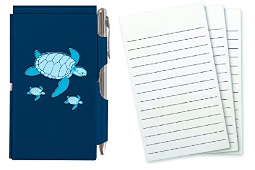 Wellspring Metal Flip Note Case With Pen and 3 Pack Refill, Bundle (Sea Turtle) (Wellspring Flip Note Pen Refills)
