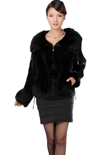 Queenshiny Women's Knitted Mink Fur Coat Jacket With Lapel Collar-Black-S(4-6) ()