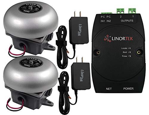 Linortek Netbell-2-2Bel Network Loud Electric School Factory Warehouse Break Alarm Bell System Automatic Programmable Bell Timer Software Electronic Bell System ()