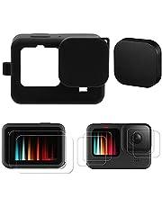 Alsukeay Accessoires Kit Compatibel met GoPro Hero 10 / Hero 9 Zwart, Siliconen Beschermhoes met Lanyard + 6 STKS Gehard Glas Screen Protector + Rubberen Lens Caps