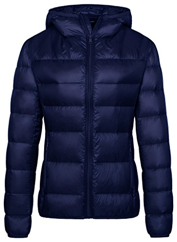 Wantdo Women's Hooded Packable Ultra Light Weight Short Down Jacket(Navy, (Puffy Down Jacket)