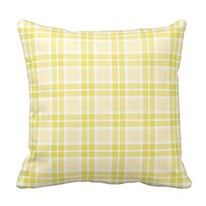 Yellow and Gray Plaid Gingham Chess Pattern Square Throw Pillow Cover Case Decorative for Sofa 18 x 18 Inch Two Sides