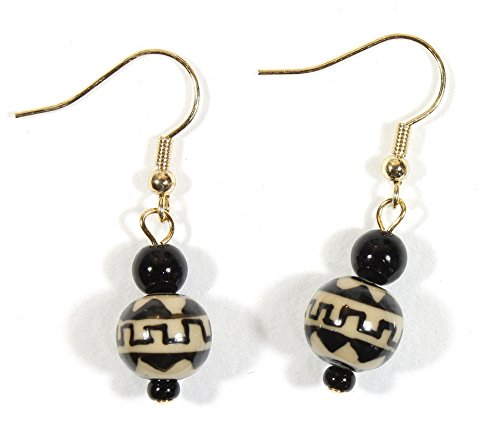 Gold Tone Wire Earrings - Zig Zag, Black and Beige Ceramic Bead Earrings with Goldtone French Wires