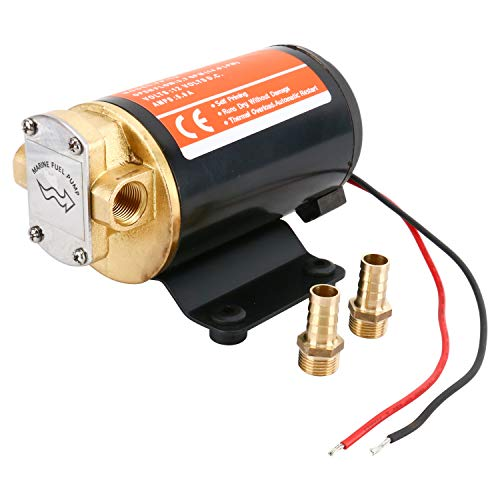 Amarine Made 12v Scavenge Impellor Gear Pump- For Diesel Fuel Scavenge Oil Transfer (Black)
