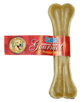 IMS Trading C10251-6 Gourmet Dog Treats, Pressed Rawhide Bone, 6-In. - Quantity 24 ()