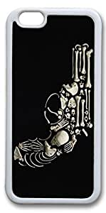 iPhone 6 Cases, Personalized Protective Case for New iPhone 6 Soft TPU White Edge Skull Gun