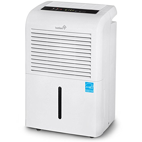Ivation 70 Pint Energy Star Dehumidifier, Large Capacity Compressor Dehumidifier For Spaces Up To 4,500 Sq Ft, Includes Programmable Humidistat, Hose Connector, Auto Shutoff Restart, Timer and Casters ()