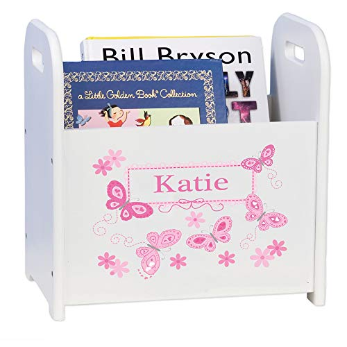 MyBambino Personalized Book Caddy and Storage with Pink Butterflies Design
