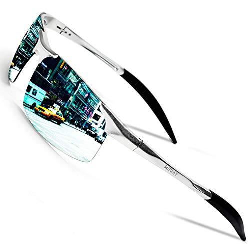 MEWAY Mens Fashion Driving Polarized Sunglasses UV400 Protection for Men Al-Mg Metal Frame Ultra Light(Silver)
