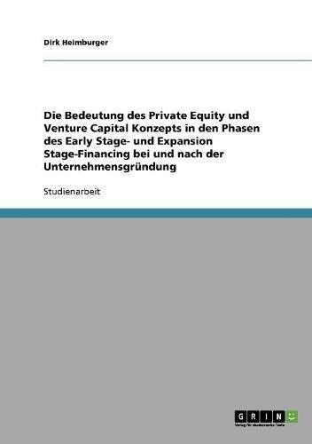Die Bedeutung des Private Equity und Venture Capital Konzepts in den Phasen des Early Stage- und Expansion Stage-Financing bei und nach der Unternehmensgründung