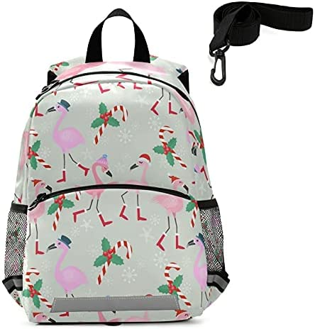Christmas Flamingo Toddler Backpack Kids Candy Cane Kindergarten Schoolbag Preschool Nursery Travel Bag with Safety Leash Harness for Baby Boys Girls 3-8 Years