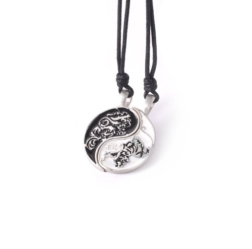 Dragon Ying Yang Silver Pewter Charm Necklace Pendant Jewelry (Yang And Ying)