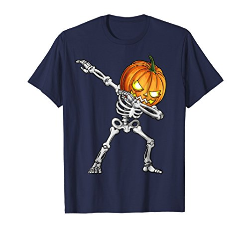 Dabbing Skeleton T Shirt Halloween Kids Boys Girls Pumpkin