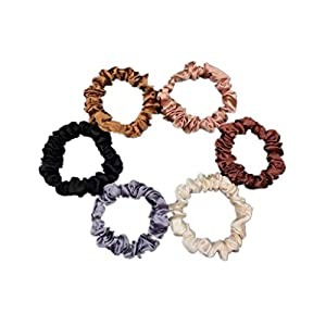 6Pcs Premium Satin Elastic Hair Bands Scrunchy Ponytail holder Hair Scrunchies Hair Ties Ropes Scrunchies for Women or…
