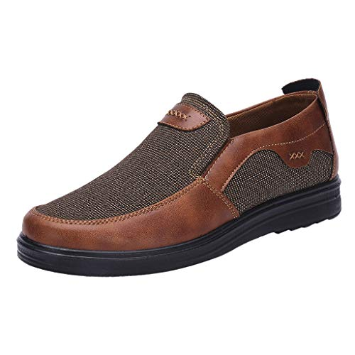 iHPH7 Shoes Casual Comfort Slip On Lightweight Beach or Travel Shoe Mesh Loose and Comfortable Dad Shoes Business Thick Casual Shoes Men (48,Coffee)