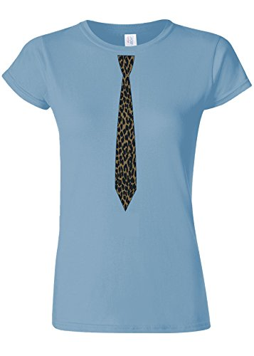 人に関する限り掃く判定Leopard Tie Suit Funny Novelty Light Blue Women T Shirt Top-XXL