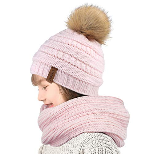 anie Winter Hat Scarf Set Pom Pom Hat Girls Boys (1-5Years) ()