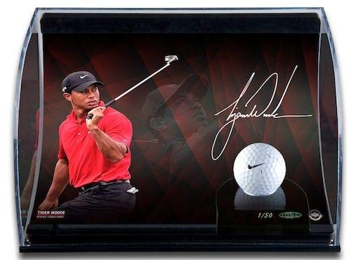 TIGER WOODS Curve Display with 8x10 Signed Image and Range-Driven Ball UDA LE ()