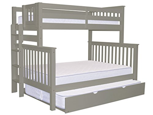 Bedz King Mission Style Bunk Bed Twin over Full with End Ladder and a Full Trundle, Gray