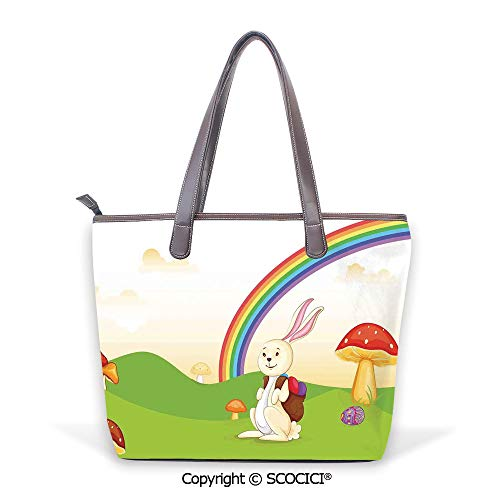 SCOCICI Purses and Handbags Bunny with Easter Egg under the Rainbow Happy Rabbi