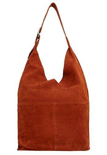MANGO - Leather hobo bag