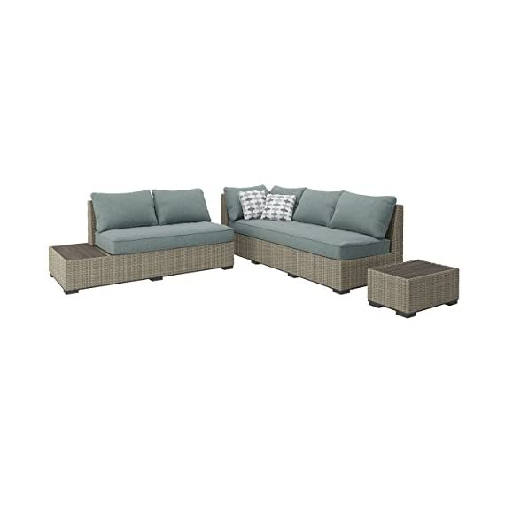 Ashley Furniture Signature Design - Silent Brook 3-Piece Outdoor Seating Set - Sofa, Loveseat Sectional & 2 End Tables - Beige & Blue - OUTDOOR SECTIONAL: Elevate your outdoor space while also staying stylish and carefree. This set's soothing sage cushions and versatile design make for a charming seat by the fire pit DURABLE DESIGN: Made with an all-weather resin wicker cover over a rust proof aluminum frame. Zippered cushions are covered in high-performing Nuvella polyester. Includes 2 throw pillows MODULAR DESIGN: Thanks to the modular, armless design, you have the freedom to arrange all the pieces to best fit your decor on your patio, balcony or screened in porch - patio-furniture, patio, conversation-sets - 419HOlXLNJL. SS570  -