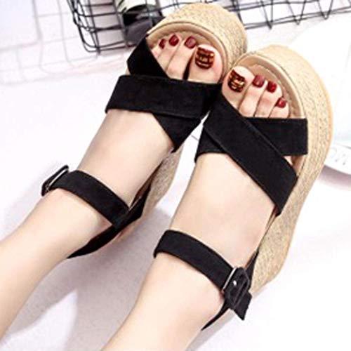 Chanclas Tacón Zapatos para Negro Baño Sandalia de de Plataforma Mujer Alto Sandalias Alpargata Fiesta Verano de Mujer Casual Playa Vestir OUqYw