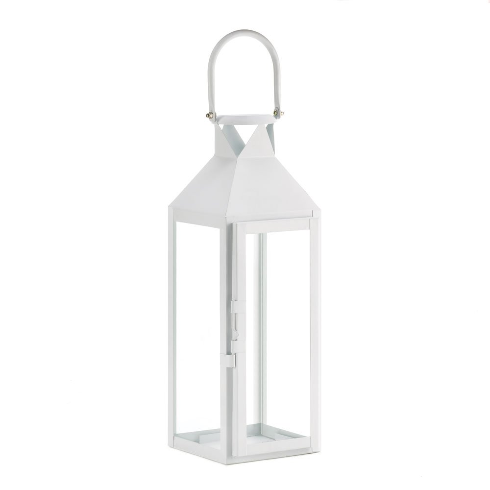 White Manhattan Cable Lantern Candle Holder Tall | ChristmasTablescapeDecor.com
