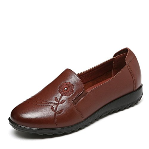 Womens Leather Brown Work On Genuine Loafer Shoes Slip rrpn5ax0