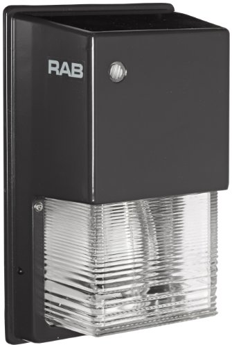 RAB Lighting WPTGSN70 Tallpack High Pressure Sodium Lamp with Prismatic Glass Refractor, ED17 Type, 70W Power, 6300 Lumens, 120V, Bronze Color
