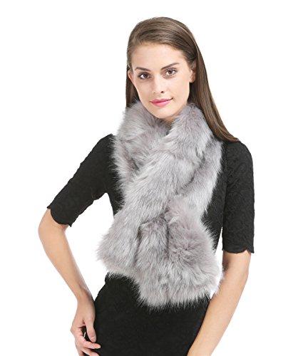 Fur Silver (Saferin Women Winter Faux Fur Scarf Wrap Collar Shrug for Wedding Evening Party (FOX-Silver Grey))