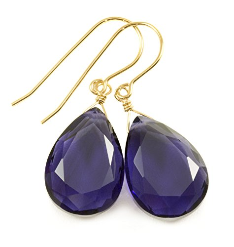 14k Yellow Gold Violet Blue Simulated Tanzanite Earrings Faceted Teardrops Simple Dangle Drops 1.4