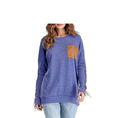 col en Sweat Coton Chemises Shirt color Poche Longues dcontract FuweiEncore Grand t Couleur Shirt M Manches Unie avec Bleu de Rond Bleu Taille wCzz4