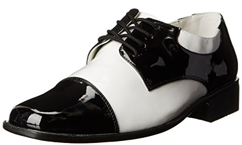 Funtasma by Pleaser Men's Halloween Disco-18,Black Patent/White Patent,M (US Men's 10-11 M)