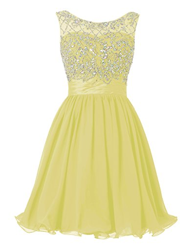 Wedtrend Women's Short Beading Homecoming Dress Rhinestones V-Back Prom Gown WT10124Yellow26W