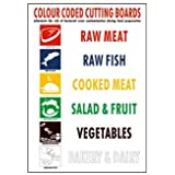 Colour Coded Chopping Boards Kitchen Sticker Sign 148x210mm A5 by stika.co