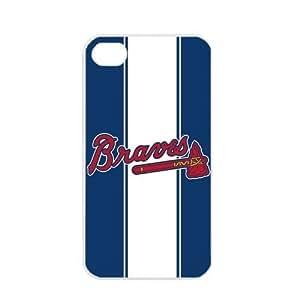 MLB Major League Baseball Atlanta Braves Apple iPhone 4 / 4s TPU Soft Black or White case (White)