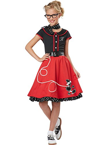 California Costumes Child's 50's Sweetheart Costume, Red/Black, Medium -
