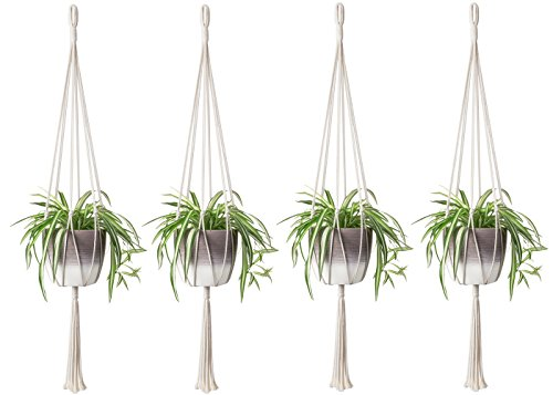 - Mkono 4PCS Macrame Plant Hanger Indoor Outdoor Hanging Planter Basket Cotton Rope Home Decor 40 inch