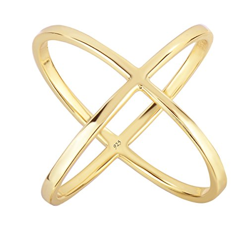 Unique Royal Jewelry Sterling Silver Criss Cross X 14-k Flash Gold Plated with E-Coating Long Ring. (10)
