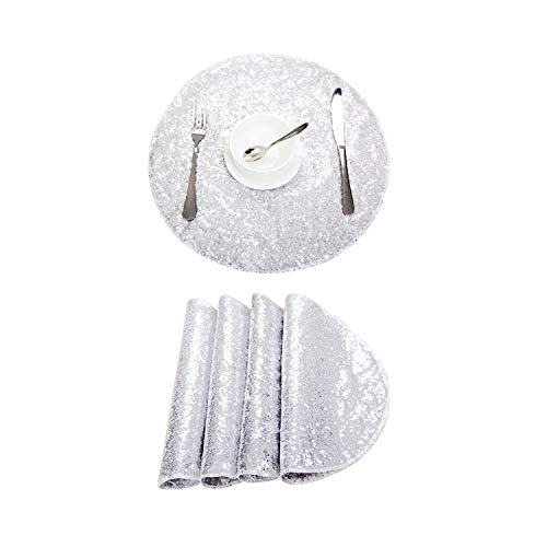Poise3EHome 15 Inches Diameter Round Sequin Placemat, Place Mats Pack of 4 - Silver ()