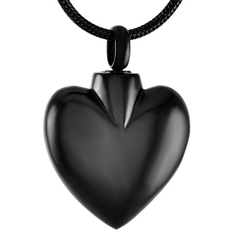 Blank Heart Urn Necklace For Ashes - Engravable Keepsake Cremation Jewelry Pendant +Box+Fill Kits (Black)